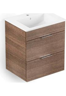 Gabinete Para Banheiro Em Mdf Com Lavatório Cube 43X45Cm Branco E Wengué