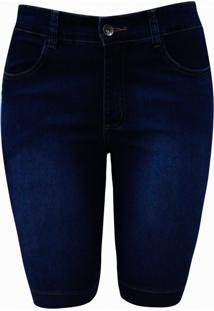 Bermuda Pau A Pique Básica Jeans Azul Escuro