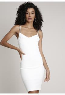 Vestido Feminino Curto Alça Fina Off White