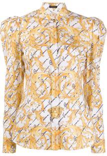 Versace Blusa Com Ombros Bufantes - Branco