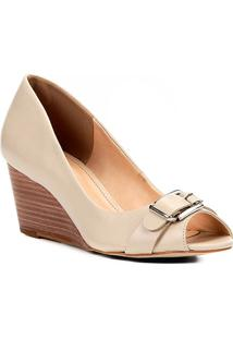 Peep Toe Couro Shoestock Anabela Fivela - Feminino-Off White