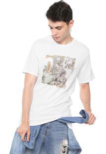 Camiseta Fiveblu Manga Curta Estampada Branca