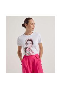 Blusa Manga Curta Em Algodão Estampa Mulher Com Paetês | Cortelle | Branco | G