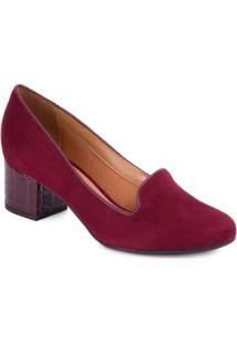 Sapato Vizzano Salto Grosso Vinho - Feminino-Vinho