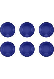 Jogo 6 Pratos Fundos Donna Azul 22Cm Biona