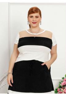 Blusa Plus Size Branca Com Recortes