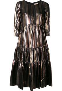 Black Coral Vestido Listrado - Metálico