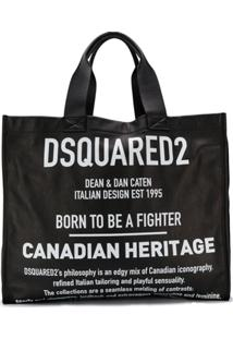 Dsquared2 Bolsa Tote Grande Com Logo - Preto
