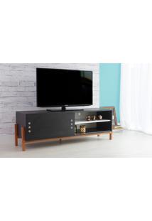 Rack Para Tv Preto Moderno Vintage Retrô Com Porta De Correr Preta Eric - 146X43,6X48,5 Cm