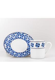 Conjunto De Xicaras Para Café C/ Pires Porcelana Schmidt 06 Peças - Dec. Athena