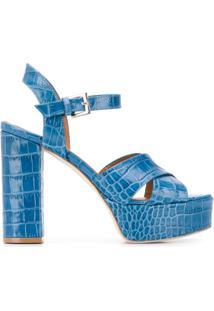 Paris Texas Sandália Plataforma Com Efeito Pele De Crocodilo - Azul