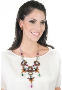 Maxi Colar Étnico Com Brinco Pedras Strass Pingentes - Conjunto Andrea Mader