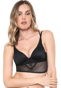 Top Valisere Push Up Tule Preto