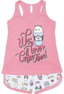 "Short Doll ""We Love Coffe Time"" - Rosa & Cinza Claromalwee"