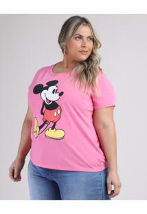Blusa Feminina Plus Size Mickey Manga Curta Decote Redondo Rosa