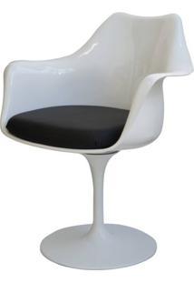 Cadeira Saarinen Branco Com Braco (Almofada Preta) - 15054 Sun House