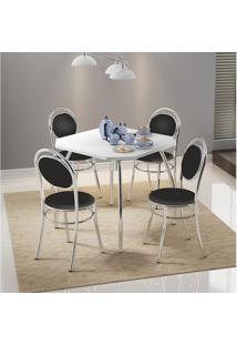 Mesa 1504 Branca Cromada Com 4 Cadeiras 190 Preta Carraro