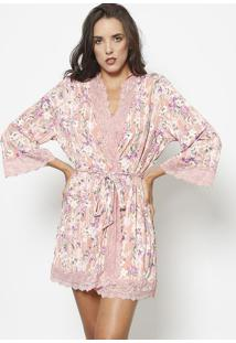 Robe Floral Com Renda- Rosa Claro & Roxofruit De La Passion
