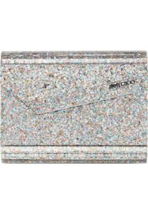 Jimmy Choo Candy Glitter Clutch Bag - Metálico