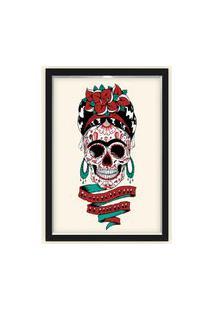 Quadro Caixa Decorativo 23X33Cm Nerderia E Lojaria Frida Caveira Mexicana Preto