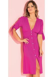 Vestido Pink Com Abertura Em Botões