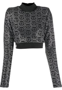 Philipp Plein Blusa Cropped Com Estampa De Logo - Preto