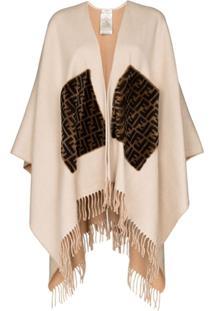 Fendi Fringed Logo Cashmere And Wool Poncho - Neutro