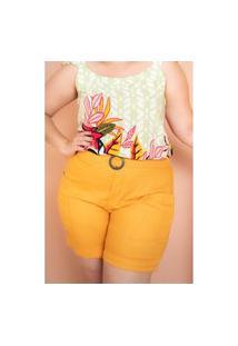 Bermuda Com Bolso Amarela Plus Size Domenica Solazzo Bermuda Amarelo