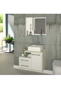Gabinete Para Banheiro 1 Porta 2 Gavetas Com Cuba E Espelheira Legno 650W Siena Móveis Branco/Snow