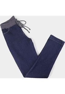 Calça Jeans Naif Plus Size Elástico No Cós Feminina - Feminino-Azul Escuro