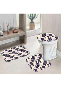 Jogo Tapetes Para Banheiro Floral Classic - Único