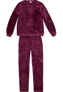 Pijama Feminino Em Fleece Com Acabamento Em Ribana