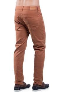 Calça Jeans Eventual Skinny Camelo Marrom Amarela - Masculino