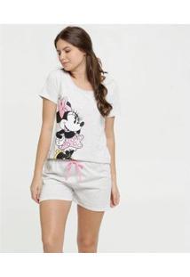 Conjunto De Pijama Disney Estampa Minnie Metalizado Feminino - Feminino-Cinza