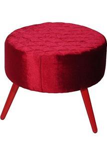 Puff Decorativo Com Pés Palito Vermelho Nina Tressê B-267 - Domi