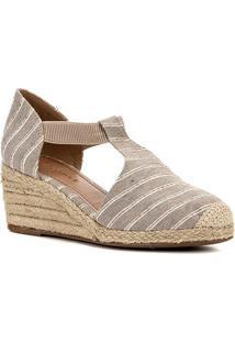Sandália Anabela Shoestock Salto Baixo Elástico Feminina - Feminino-Areia