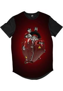 Camiseta Longline Bsc Coração De Máquina Motor Vermelho Sublimada Vermelho