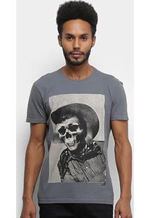 Camiseta Ellus 2Nd Floor Skull Cowboy Masculina - Masculino-Grafite