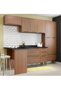 Cozinha Compacta 11 Portas Com Tampo E Pés 5454 Noguera/Malt - Multimóveis