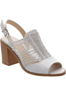Sandália Chanel Com Tiras - Branca - Salto: 8,5Cmschutz