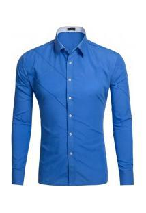 Camisa Masculina Slim Fit Com Detalhes Em Costura Manga Longa - Azul