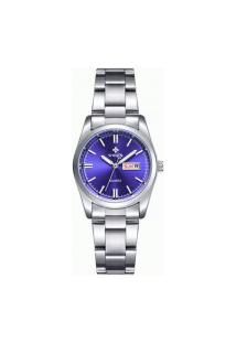 Relógio Feminino Wwoor 8804 - Prata E Azul