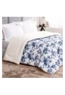 Coberdrom Cobertor Estampado Floral Azul Pele De Caneiro Dupla Face Estampado 100% Algodão 2,50M X 2,40M
