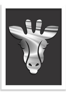 Quadro Decorativo Em Relevo Espelhado Zebra Prateada Branco - Médio