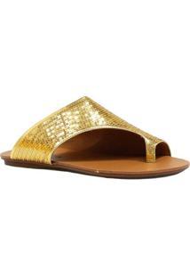 Rasteira Zariff Shoes Com Paetê - Feminino-Dourado