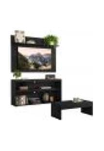 """Rack C/ Painel E Suporte Tv 55"""" Com Mesa De Centro Atualle Plus Multimóveis Preto"""