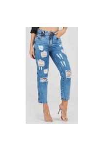 Calça Jeans Outlet Premium Mom Cenoura Royal Azul