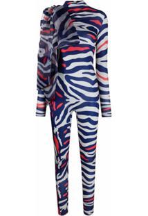 Atu Body Couture Macacão Acinturado Animal Print - Azul