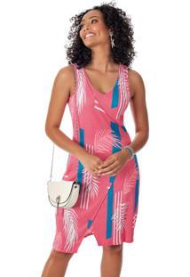 Vestido Estampado Curto Com Decote V Rosa