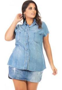 Camisa Jeans Manga Curta Plus Size Confidencial Extra Feminina - Feminino-Azul